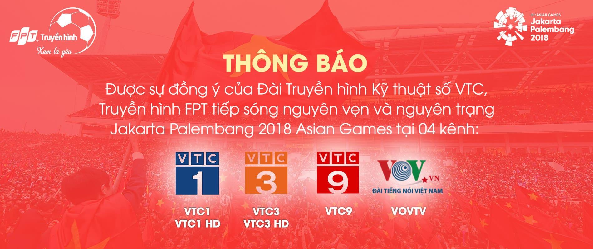 Asiad 2018 chính thức có mặt trên Truyền hình FPT